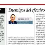 """""""Enemigos del efectivo metálico"""", nuevo artículo de Miguel Font"""