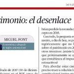 """""""Patrimonio, el desenlace"""", la nueva colaboración de Miguel Font con El Económico"""