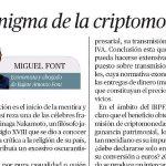 """""""El enigma de la criptomoneda"""", una nueva colaboración de Miguel Font en El Económico"""